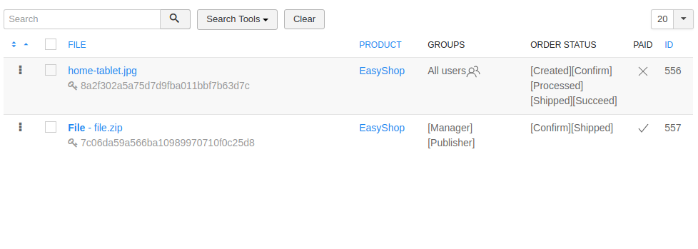 EasyShop file assignments