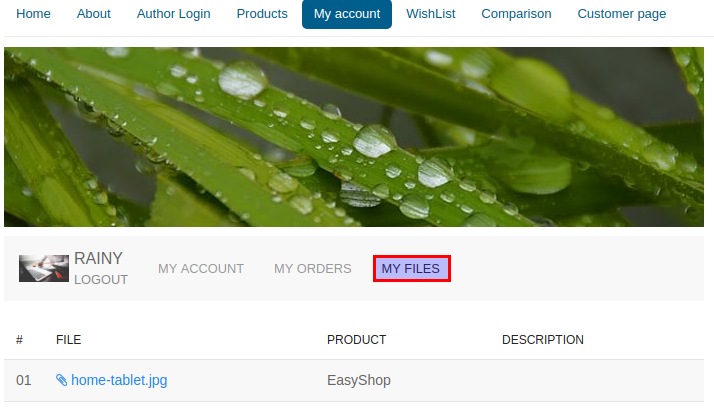 EasyShop file customer page